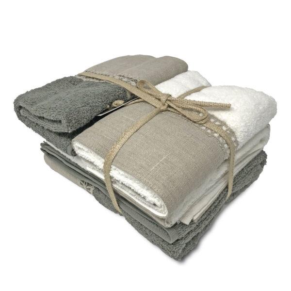 biancoperla Set asciugamani di spugna con bordo in lino e cigliuccio, 2x tel bidet + 2x teli viso, colore grigio beige bianco