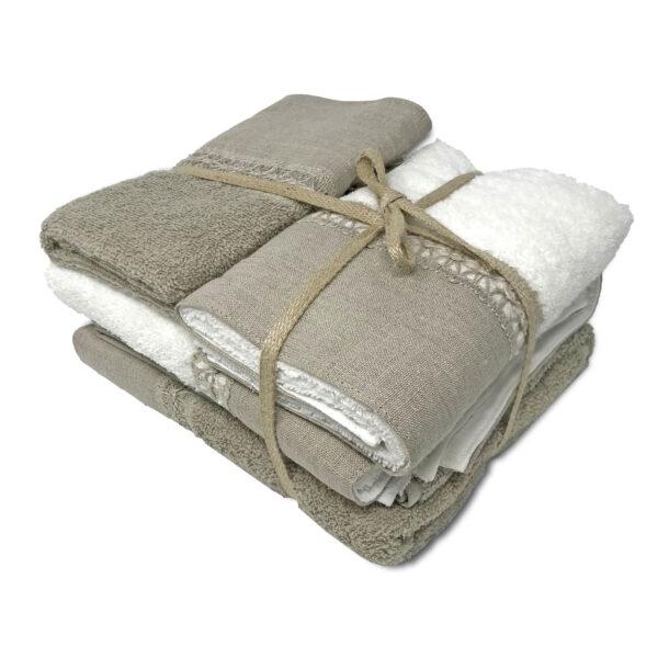 biancoperla Set asciugamani di spugna con bordo in lino e cigliuccio, 2x tel bidet + 2x teli viso, colore beige bianco